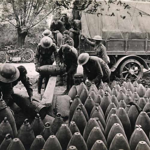 2nd Australian Siege Battery unloading big shells from a motor lorry, Voormezeele, 1917